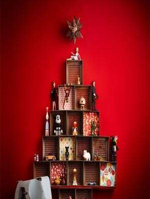 Árbol de navidad con cajas de madera Foto: Pasiondeco.com