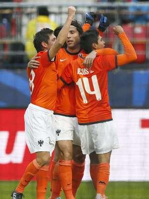 El festejo de los jugadores Rayados con el triunfo que los pone en la semifinal del Mundial de Clubes. Foto: EFE