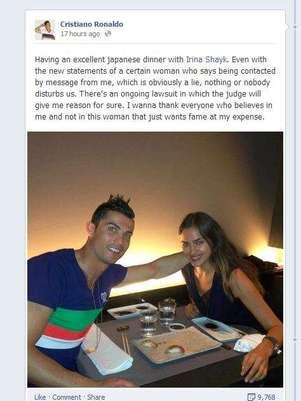 Ronaldo's post of Facebook Foto: Facebook: Cristiano Ronaldo