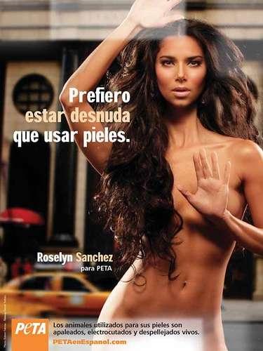 Roselyn Sánchez fue la primera latina en posar desnuda para la campaña de PETA \