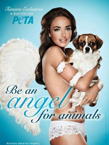 La modelo Tamara Ecclestone posa con su perro Buster y dice 'Se un angel para los animales. Los animales merecen respeto, paciencia y comprensión'.
