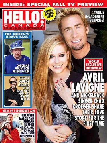 Avril Lavigne se comprometió por segunda ocasión. La cantante se va a casar con el líder y vocalista de la banda Nickelback, Chad Kroeger. El rockero le entregó a su prometida un anillo de diamantes de 14 kilates y que está estimado en $350,000 dólares