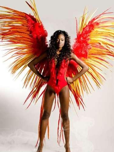 Miss Bahamas - Celeste Marshall. Tiene 19 años, cabello negro y ojos color marrón. Mide 1.81 metros de estatura.