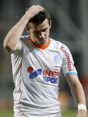 Olympique Marseille's Joey Barton reacts after their French Ligue 1 soccer match against FC Lorient at the Velodrome Stadium in Marseille, December 9, 2012.