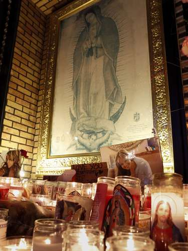 Candles, photos of Jenni and even a picture of the Virgin of Guadalupe have also been put on display in tribute to the singer at the Plaza Mexico shopping center in Lynwood, California.