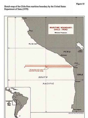La Oficina Geográfico de los Estados Unidos también ratificaría la postura chilena que dicta que es el paralelo lo que marca la frontera marítima entre ambas naciones.