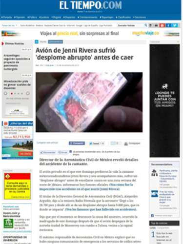 The digital edition of Colombia's El Tiempo had various articles about Jenni including this one which included a picture of her driver license, one of the items found at the accident scene.
