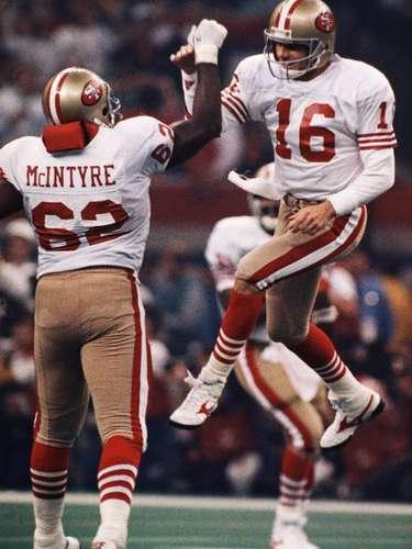 Joe Montana (San Francisco 49ers-QB): Montana no ganó el MVP cuando los Niners ganaron el Super Bowl XXIII, pero se convirtió en el único hombre en ganar tres premios de MVP un año después, cuando desmanteló a los Broncos de Denver con 22 pases completos en 29 intentos para 297 yardas y cinco pases de anotación. San Francisco derrotó a Denver 55-10, en el Super Bowl más abultada en la historia.