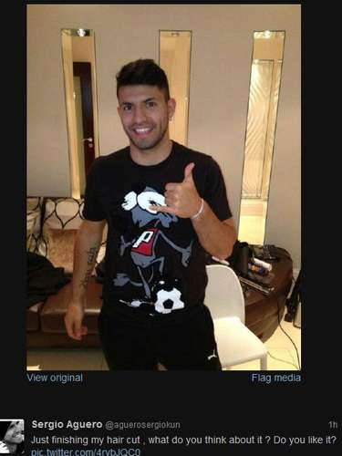 Sergio Aguero got a haircut and he wants the world to let him know what it thinks about it. Can you say vain?