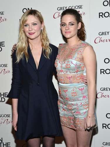 Kirsten Dunst andKristen Stewart were hand in hand at theOn The Road premiere in New York.