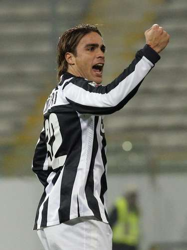 Juventus' Alessandro Matri celebrates after scoring against Cagliari in their 3-1 in.