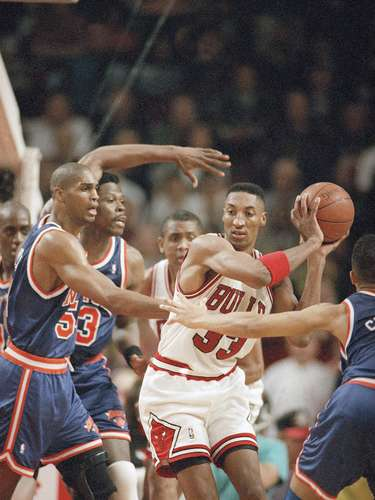 5. New York Knicks vs. Chicago Bulls, 1994: In the year after Michael Jordan retired, Scottie Pippen finally emerged as a star in his own right. Against the Knicks, Pippen scored 36 points and pulled down 15 rebounds, and his block in overtime sealed the Bulls' 107-104 win.