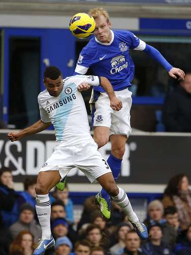 Everton's Steven Naismith (R) challenges Chelsea's Ashley Cole. REUTERS/Phil Noble