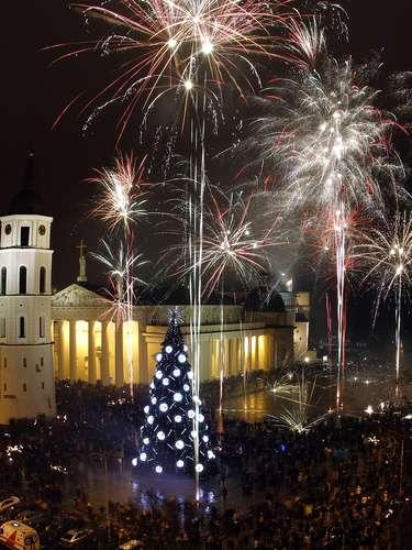 En Lithuania el centro de la ciudad fue testigo de un espectáculo de fuegos artificiales.