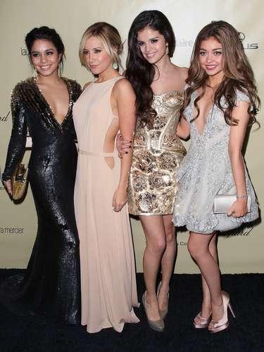 Vanessa Hudgens, Ashley Tisdale, Selena Gomez y Sarah Hyland animadas en la fiesta