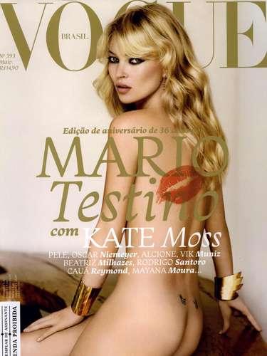 Kate Moss cumplió 39 años y la revista Vogue publicó en sus redes sociales una imagen de su portada de mayo de 2011.