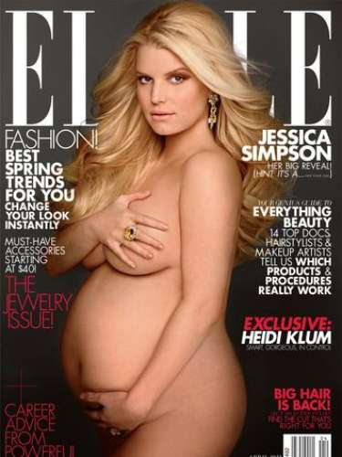 La actriz, Jessica Simpson, a pocos meses de dar a luz con 31 años posó para la portada de la revista ELLE.