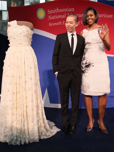 The dress was donated to the Smithsonian where it's being exhibited with other Inuguration gowns from the different First Lady's.