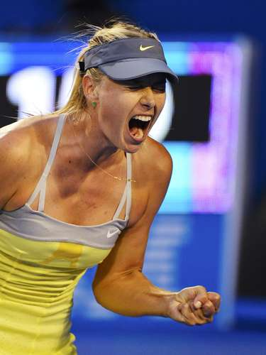 Sharapova provided plenty of her trademark shrieks during the match.  REUTERS/Toby Melville (AUSTRALIA - Tags: SPORT TENNIS)