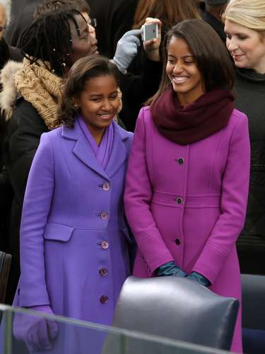 The First Daughters, Mailia and Sasha, wore colorful Kate Spade and J.Crew outfits. The girls looked marvelous and were able to stand out in the crowd with their vibrant choice of colors.