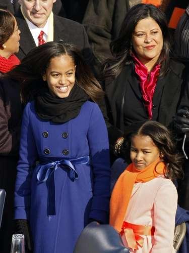 En 2009, las hijas de Obama, Malia (izq.) y Sasha tenían, 10 y 7 años respectivamente. Las niñas acompañaron a sus padres en la ceremonia.