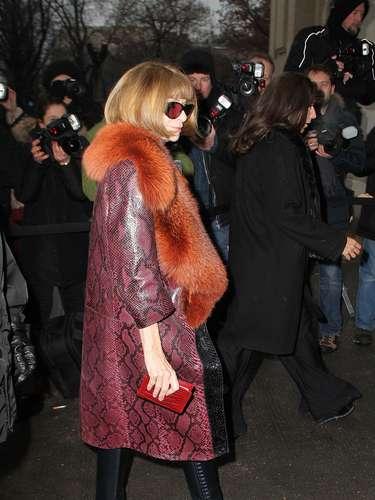 La editora en jefe de la revista Vogue de Estados Unidos, Anna Wintour, vestía una chaqueta con estampado animal print.