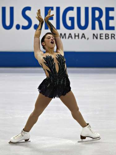 Samantha Cesario competes during the Ladies Free Skate event at the U.S. Figure Skating Championships in Omaha, Nebraska, January 26, 2013.  REUTERS/Jim Young  (UNITED STATES - Tags: SPORT FIGURE SKATING)