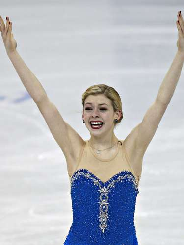 Gracie Gold reacts after her routine during the Ladies Free Skate at the U.S. Figure Skating Championships in Omaha, Nebraska, January 26, 2013.  REUTERS/Jim Young  (UNITED STATES - Tags: SPORT FIGURE SKATING)