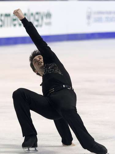 Brian Joubert of France performs during the men's free skating program at the European Figure Skating Championships in Zagreb January 26, 2013.             REUTERS/Antonio Bronic (CROATIA  - Tags: SPORT FIGURE SKATING)