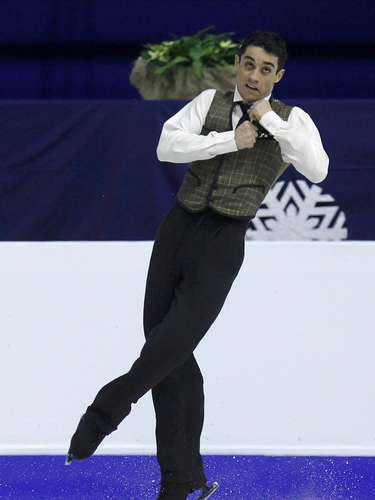 Javier Fernandez of Spain performs during the men's free skating program at the European Figure Skating Championships in Zagreb January 26, 2013.                REUTERS/Antonio Bronic (CROATIA  - Tags: SPORT FIGURE SKATING)