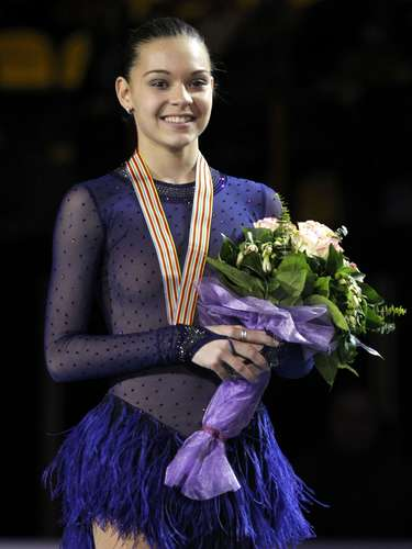 Silver medallist Adelina Sotnikova of Russia poses on podium during the award ceremony for the women's skating competition at the European Figure Skating Championships in Zagreb January 26, 2013.       REUTERS/Antonio Bronic (CROATIA  - Tags: SPORT FIGURE SKATING)