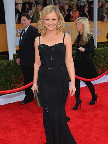 WORST: Amy Poehler's dress wasn't terrible but after she made so many heads turn and hearts beat rapid at the Golden Globes, this sober outfit left us wanting THAT Amy back.
