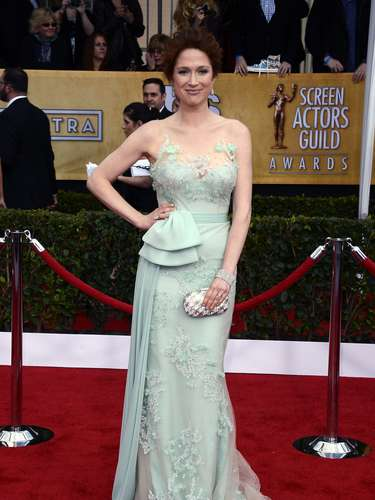BEST. Ellie Kemper had their air of Disney princess done right in this seafoam Reem Acra dress.