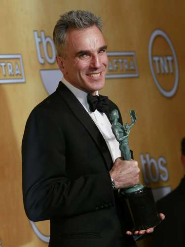 Daniel Day-Lewis poses backstage after winning the award for outstanding male actor in a leading role for \