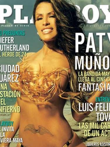 Paty Muñoz tampoco lo dudó y deleitó a sus fans con esta portada, sin duda, una de las más exitosas de Playboy.