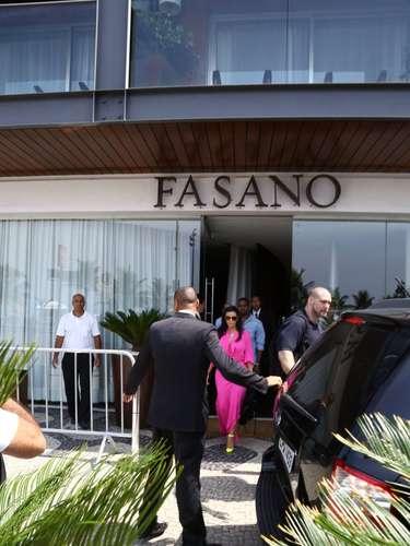 La pareja salió del hotel Fasano para pasear por Rio de Janeiro