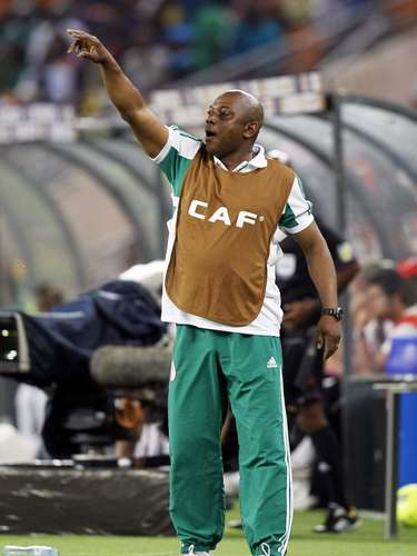 Nigeria's coach Stephen Keshi reacts during their African Nations Cup.