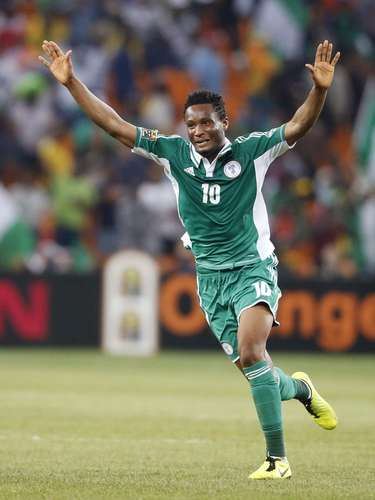 Nigeria's John Obi Mikel celebrates after winning their African Nations Cup.