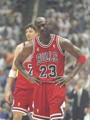 4. The 'Flu Game:' With the 1997 Finals tied 2-2 and Game 5 in Utah, Jordan turned in another legendary performance. Despite suffering from a stomach virus and despite the Jazz taking an early 16-point lead, Jordan brought the Bulls back, scoring 15 points in the fourth quarter alone and hitting the three-point shot that gave Chicago the lead for good in a crucial victory. Jordan finished with 38 points and 7 rebounds.