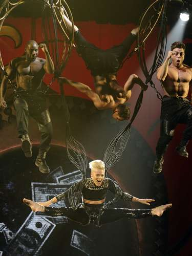 Pink performs at the Staples Center on Saturday, February  16, 2013 in Los Angeles.
