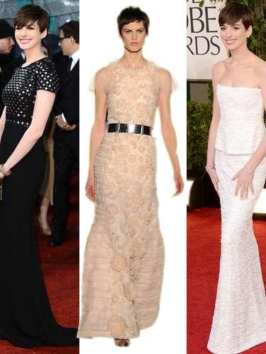 Anne Hathaway,en los BAFTA (a la izquierda), acudió vestida de Burberry, quizá como homenaje a los premios británicos. Negro riguroso y tachuelas. En los Globos de Oro, fue vestida de Chanel Alta Costura (izquierda), con un modelo de 2009. Una colección que ya ha lucido en varias ocasiones. Por eso, en Terra apostamos por este vestido de Chanel de la temporada otoño-invierno. Tonos nude, con suaves transparencias: un look digno de Oscar.