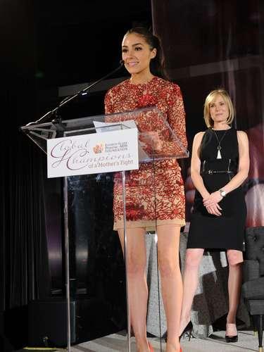 Durante el evento, la actual Miss Universo, honró sobre el escenario con su discurso a los ganadores del evento, personas comprometidas en la lucha contra el SIDA y el VIH.