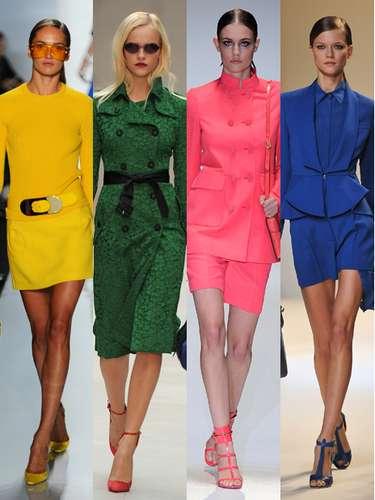 Los colores vitaminados y los looks monocolor parecen haber saltado de las películas de Almodóvar a la pasarela. Una carta de ajuste fashion (De izquierda a derecha: Michael Kors, Burberry Prorsum, Lanvin y Elie Saab).