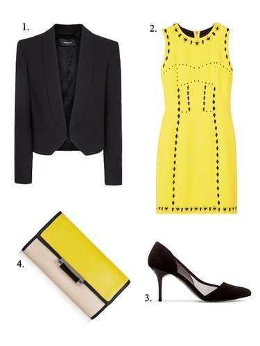 A lo Victoria Abril: 1. Chaqueta corta de esmoquin de Mango (29,99 euros). 2. Vestido ajustado de Versace (c.p.v.). 3. Zapato de Zara con rejilla (39,95 euros). 4. Cartera de Diane Von Furstenberg (225 euros).