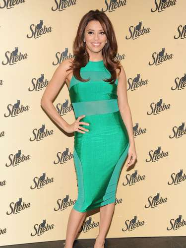 Eva Longoria with 'Goose' attends the Sheba. Feed Your Passion Campaign launch at Copacabana on March 7, 2013 in New York City.