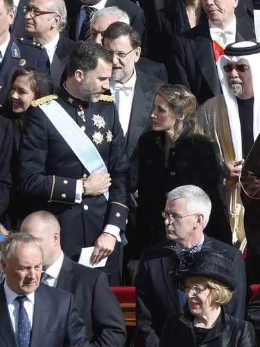 Los príncipes, conversando.Tras ellos, Mariano Rajoy y su mujer, Elvira Fernández.