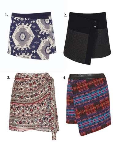 Las faldas pareo inundan las tiendas: 1. De Zara. 2. Negra mini jacquard, también de Zara. 3. De estilo étnico, de Topshop. 4. Estampada, de Mango.