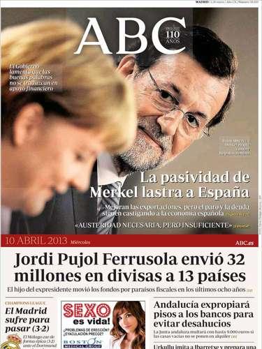 Portada de ABC, culpando a Merkel del estancamiento de la economía española