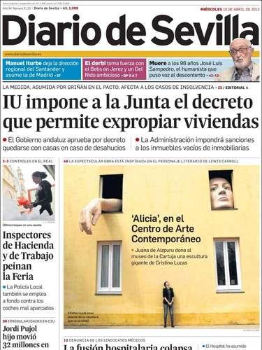 Portada del Diario de Sevilla tratando el decreto de la Junta que le permite expropiar viviendas para evitar desahucios