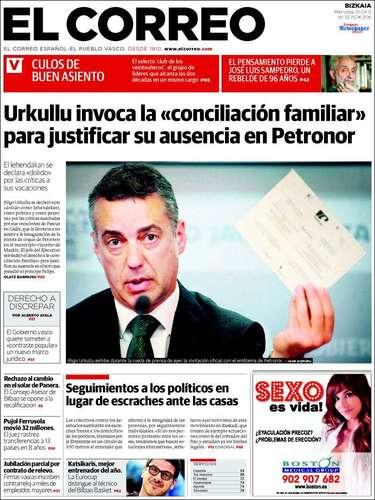 Portada del diario El correo, que recoge la apuesta del lehendakari por impulsar consultas de autodeterminación